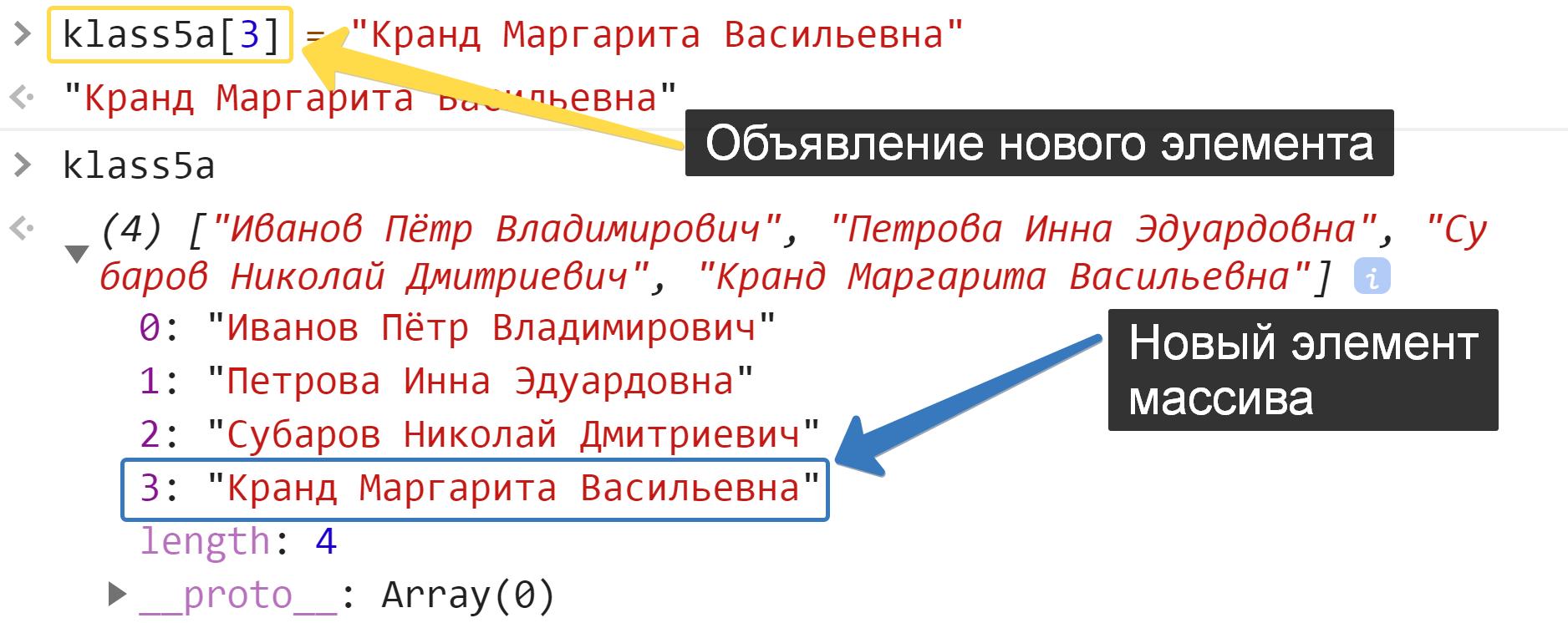 Объявление нового элемента в массиве - JavaScript
