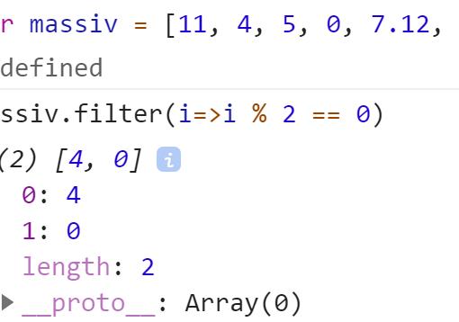Отфильтровали массив по чётным числам - JavaScript