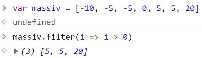 Отфильтровали положительные числа из массива - JavaScript
