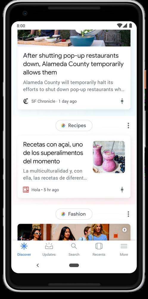 Discover от Google на нескольких языках