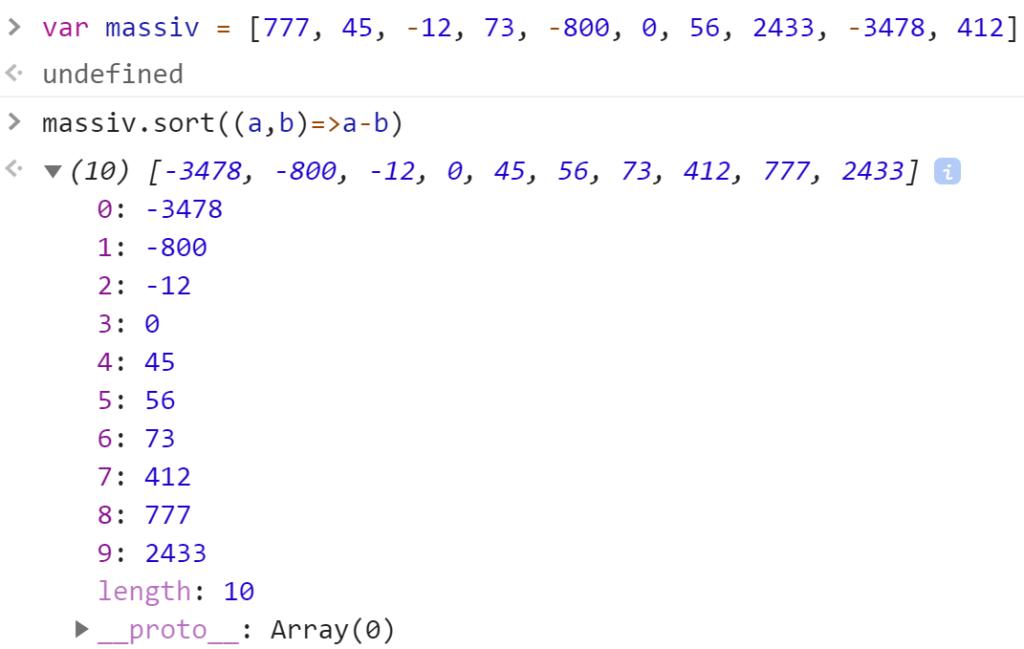 Отсортировали массив от наименьшего до наибольшего - JavaScript