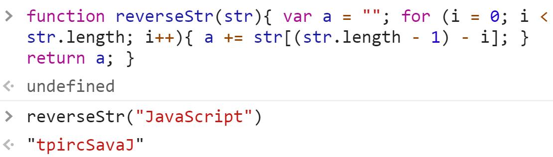 Переворот строки циклом for - JavaScript