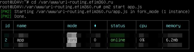 PM2 успешно запустил сервер Node.js