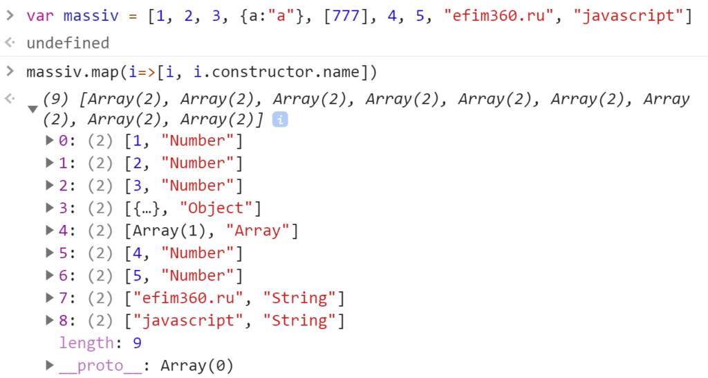 Получили имена конструкторов значений элементов массива и сопоставили - JavaScript