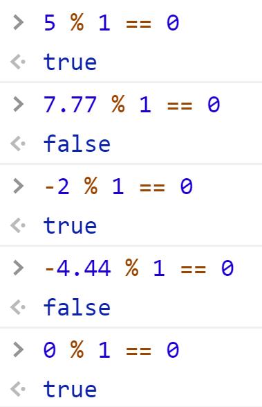 Проверили на целое остатком от деления - JavaScript