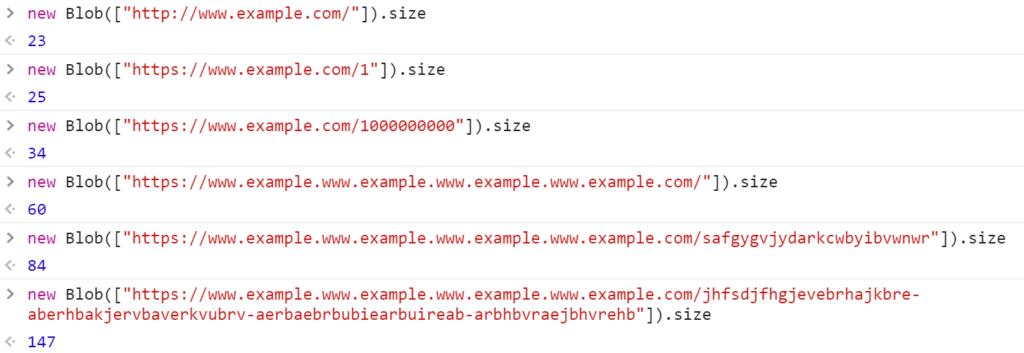 Размеры адресов в байтах - JavaScript