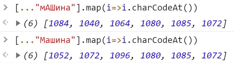 Разные последовательности символьных кодов строк - JavaScript