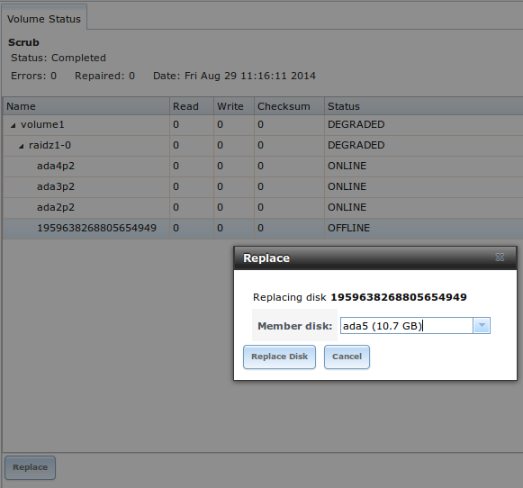Замена диска в FreeNAS