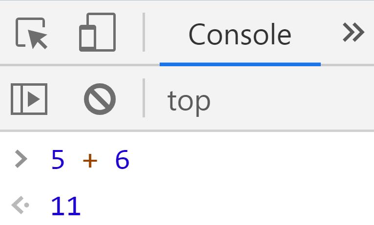 Сложение двух чисел 5 и 6 - JavaScript