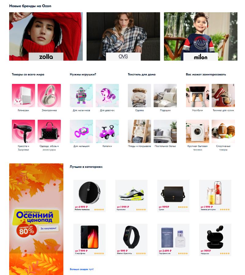 Сниппеты-ссылки на главной - www.ozon.ru - 17-11-2020