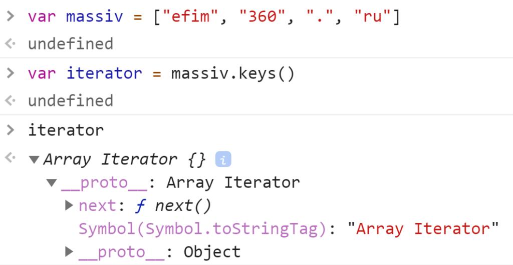 Создали итератор массива методом keys() - JavaScript