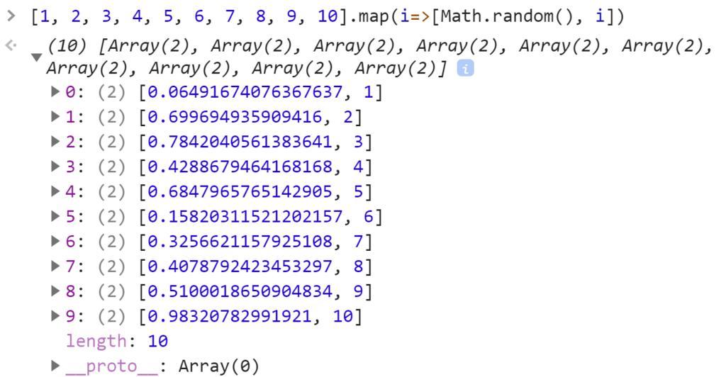 Создали пары из случайного числа и элемента массива - JavaScript