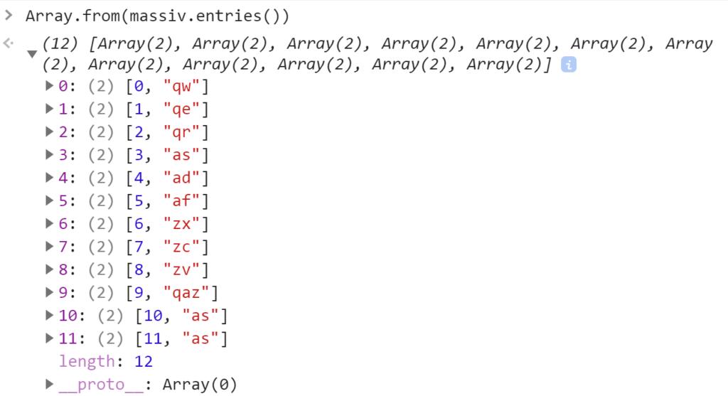 Создание массива из итератора массива - JavaScript
