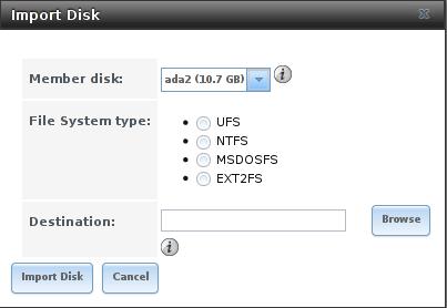 Импортировать диск