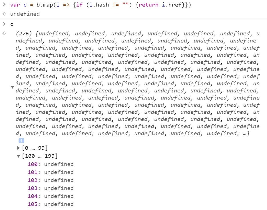 undefined в этом массиве - это ссылки без фрагментов URI