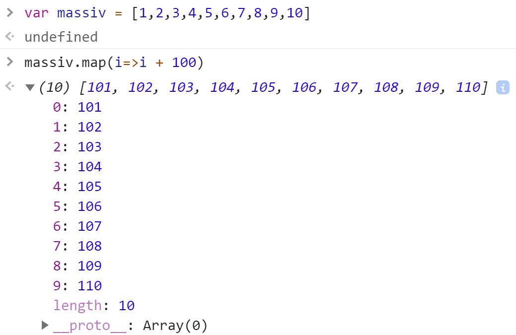 Увеличили все числа в массиве на 100 - JavaScript