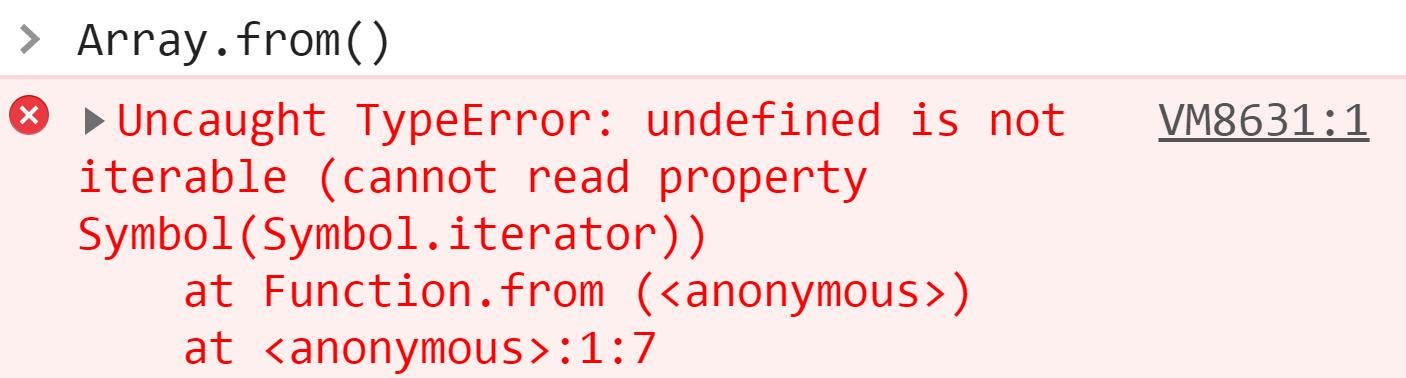 Вызов Array.from без параметров - JavaScript